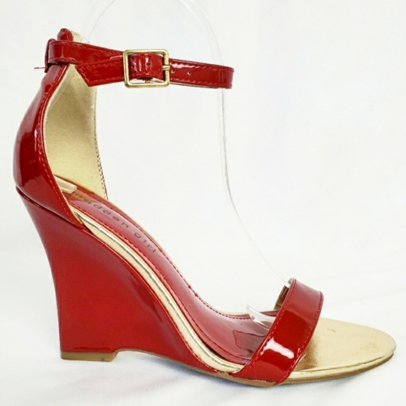 Red Gold Open Toe Wedges   Poshmark